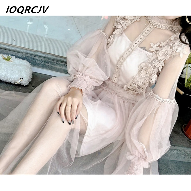 2018 Summer Flower Splice Hollow Lantern Sleeve Sexy Dress Women Tulle Gauze Perspective Lace Party Dresses Vestidos F96