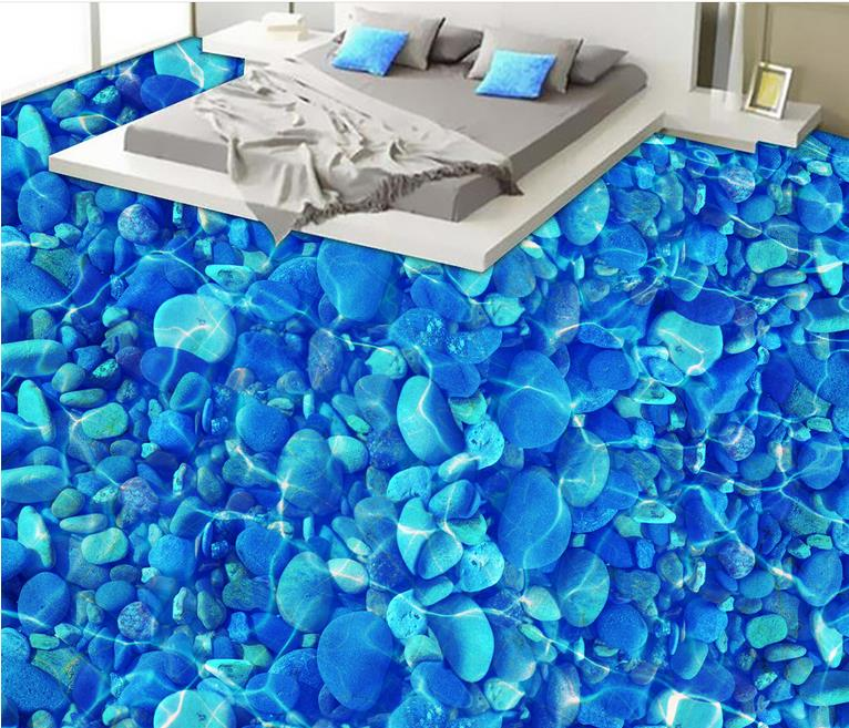 Self Adhesive Wall paper River pebbles Floor Tile Vinyl Wallpaper Border 3d Flooring Waterproof Wallpaper