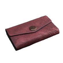 100% Cow Leather wallet for women Long designer drew-string wallet holder women leather genuine purse free shipping