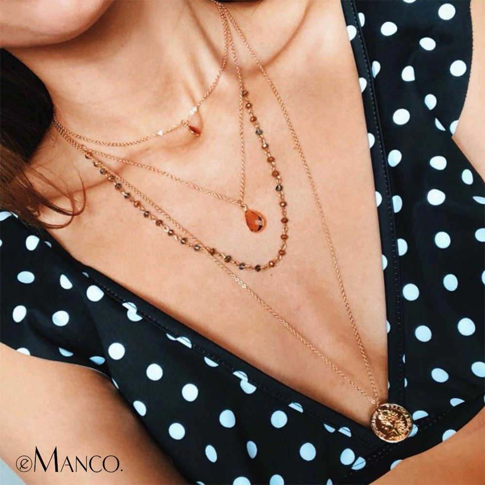 eManco Multi Layered Necklace  Crystal Beads Chain  Vintage Old Coin pendant necklace New Arrivals For Women  Fashion Jewelry