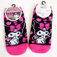 pink cotton kawaii socks kuromi with bow cartoon 1pair