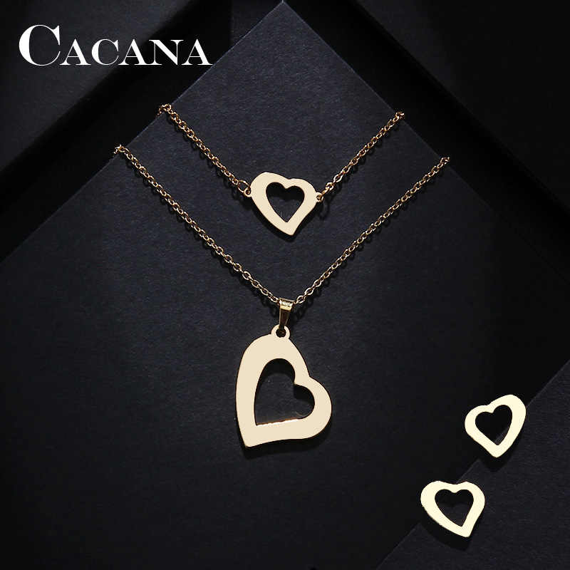 CACANA Stainless Steel Sets For Women Askew Heart Shape Necklace Bracelets Earrings For Women Lover's Engagement Jewelry S463