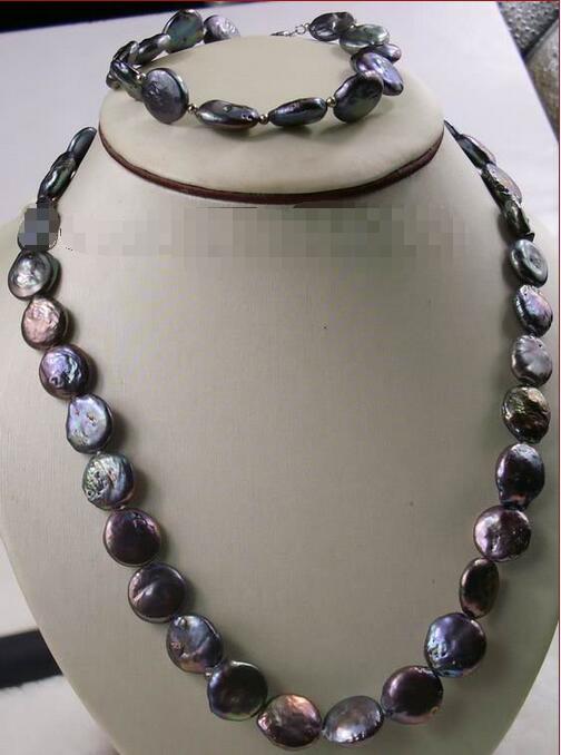 En gros prix 16new ^^^^^^ naturel noir coin 11-12mm perle collier et bracelet ensembles