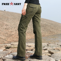 New Design Autumn Women's Cotton Pants Army Green Loose Flare Pants Pockets Ladies Trousers Women Pants Plus Size GK 919