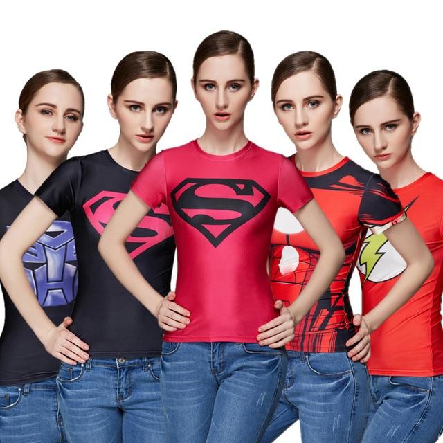 Super Heróis Mulheres TShirt Superman Spiderman Batman Capitão América Tshirt Homem De Ferro do Flash Lanterna Verde de Manga Curta Tops Casuais