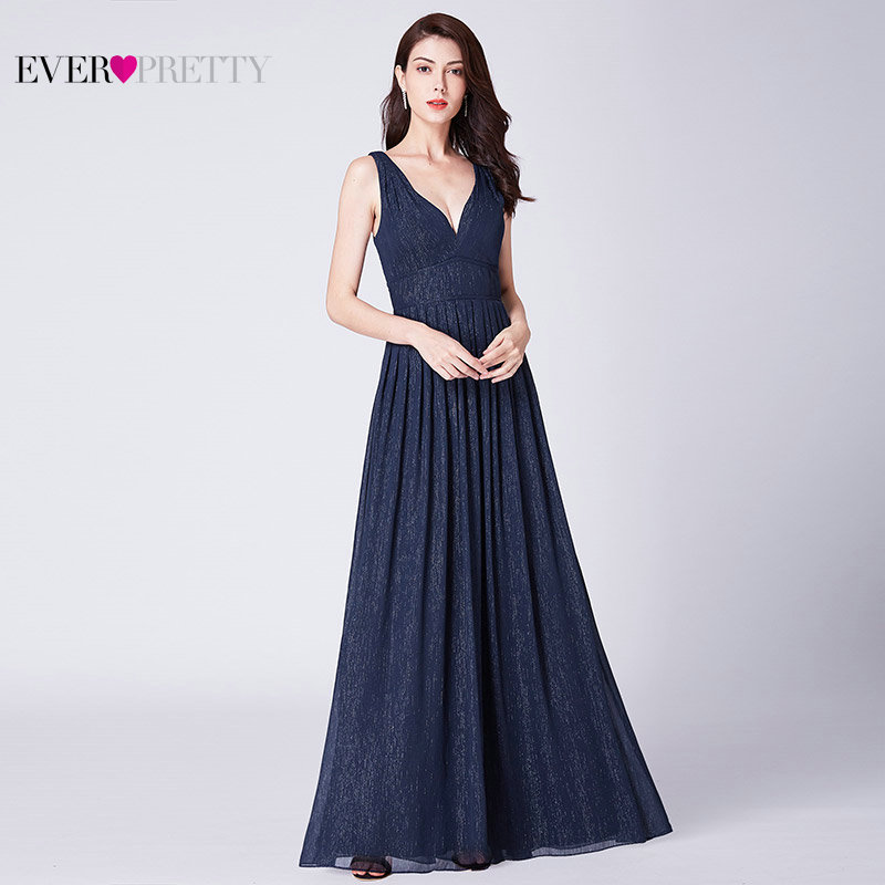 Темно-синие длинные платья для выпускного вечера 2019 Ever Pretty EP07465 A-Line Глубокий v-образный вырез блестящие Длинные вечерние платья для выпускно...