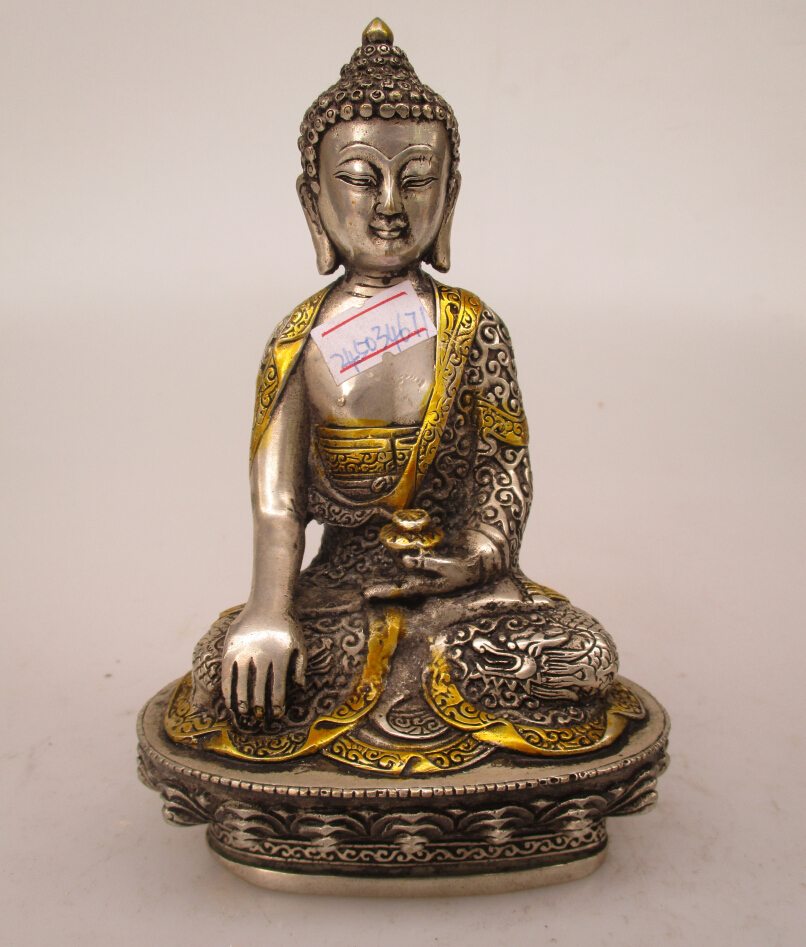 Collectible Decorated Old Handwork Tibet Silver Carved Trunk Buddha Statue