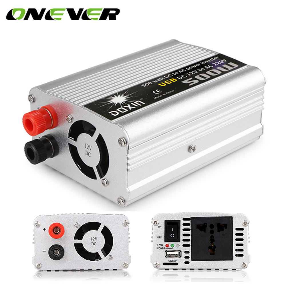 Onever 500w usb car power pure sine wave inverter converter dc 12v to ac 220v auto