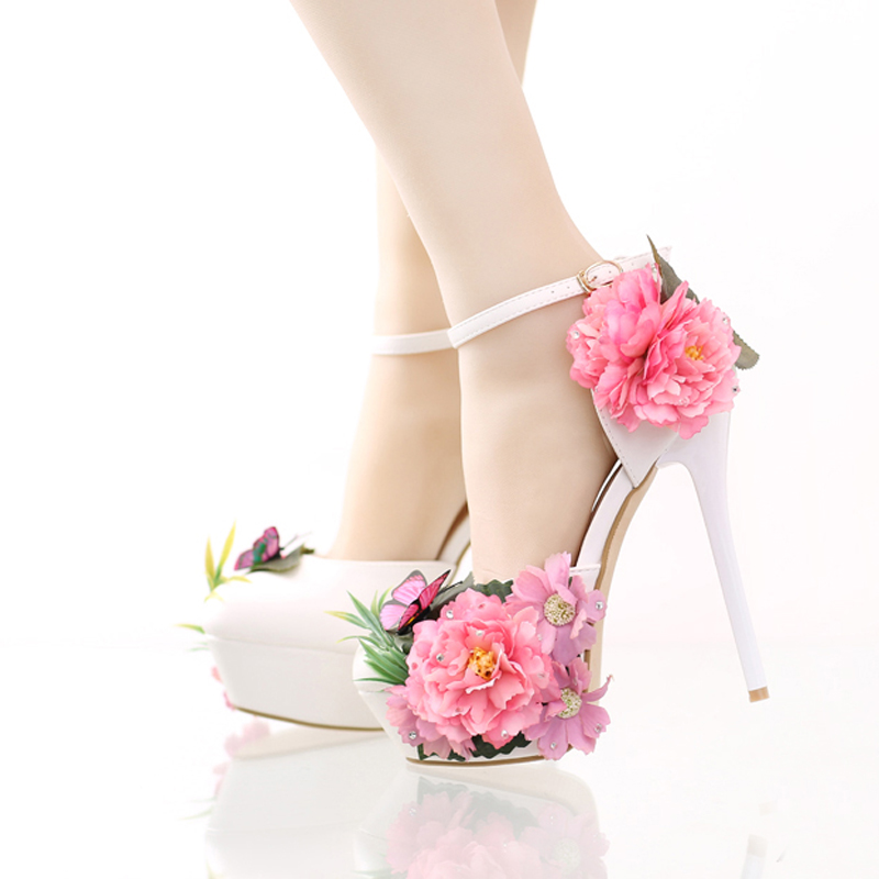 Fashion Flower Bridal Dress Shoes Platform Formal Dress Shoes with Ankle Straps New Designer Party Prom Pumps Super High Heels