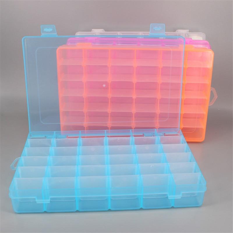 36 Grids Plastic Storage Box Adjustable Jewelry Tool Box Beads Pills Organizer Nail Art Tip Storage Box Case hard transparent