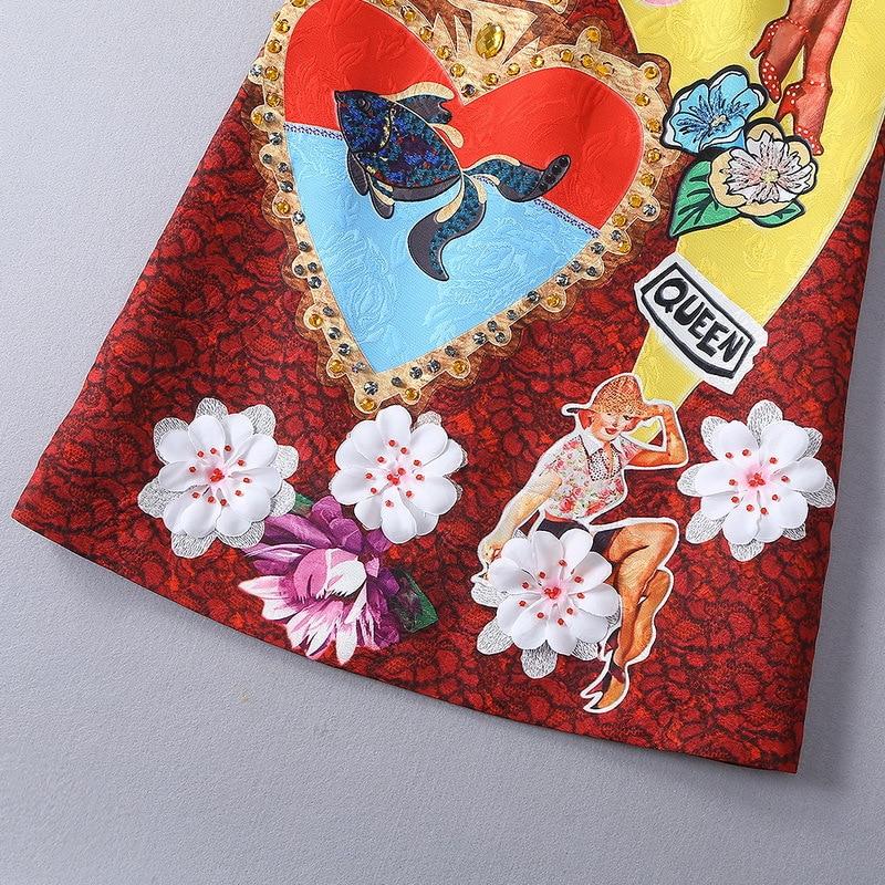 Fête Designer De Couture Tenue Courte Qyfcioufu Robe Applique Perles Piste D'été Imprimer Femmes Rouge Manches 2019 Haute Cartoon w8tqqIXnza