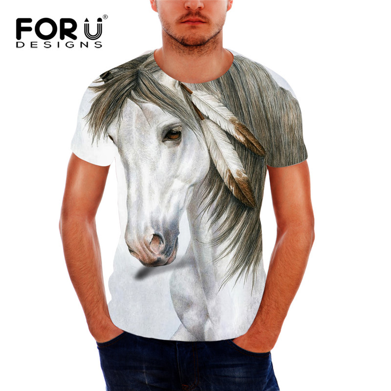 forudesigns 3d crazy horse tee shirt for men summer style. Black Bedroom Furniture Sets. Home Design Ideas