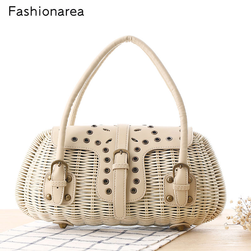 Bohemian Lady Tote Straw Handbag Summer Beach Bag Rattan Japanese Wind Weave Basket Bag Rivet Belt Girls Holiday Party Beach Bag wegogo women handbag new thailand straw bag ladies travel holiday summer beach bohemian boho weaving woven straw tote bag