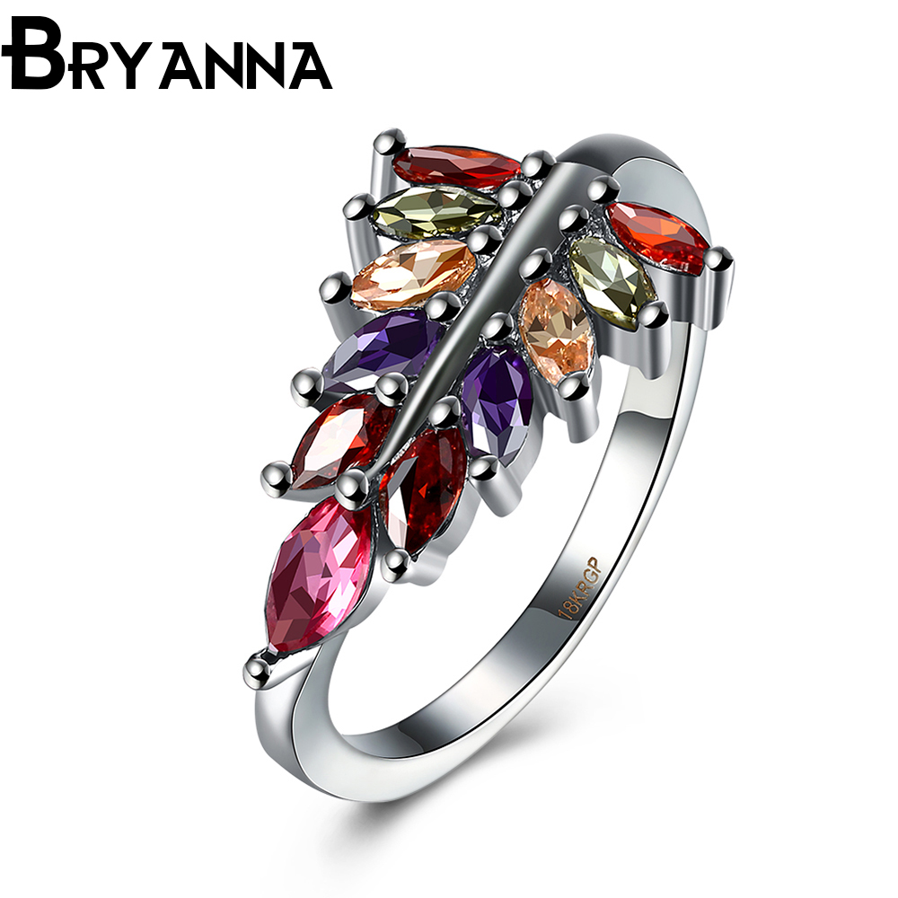 Bryanna Bohemian Femme Luxurious Round Leaf Ring With Aaa Zircon Bagues  Fashion Jewelry Vintage Wedding Rings For Women R20980