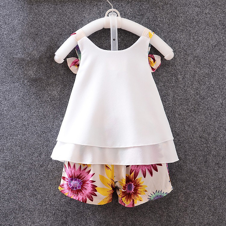45af5c0d toddler fashion clothing kids designer boutique ruffle outfits baby chiffon  top + sunflower printed baby girl summer clothes set-in Clothing Sets from  ...