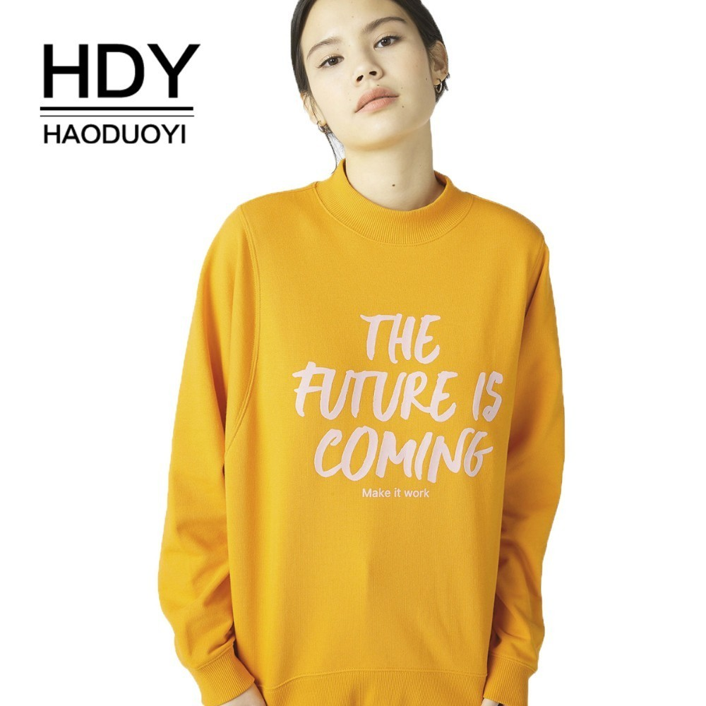 HDY Haoduoyi 2019 Fashion School Girl Half-high Collar Letter Print Oversize Sweatshirts