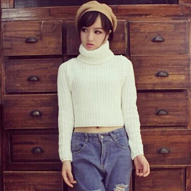 Woman Sweater Winter 2016 Korean Casual Long Sleeve Turtleneck Knitted Sweater Short Pullover Cropped Top short feminino 2129