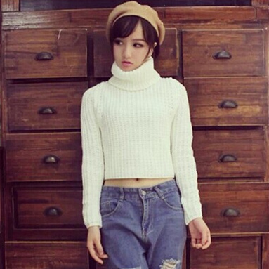 Woman Sweater Winter 2017 Korean Casual Long Sleeve Turtleneck Knitted  Sweater Short Pullover Cropped Top short
