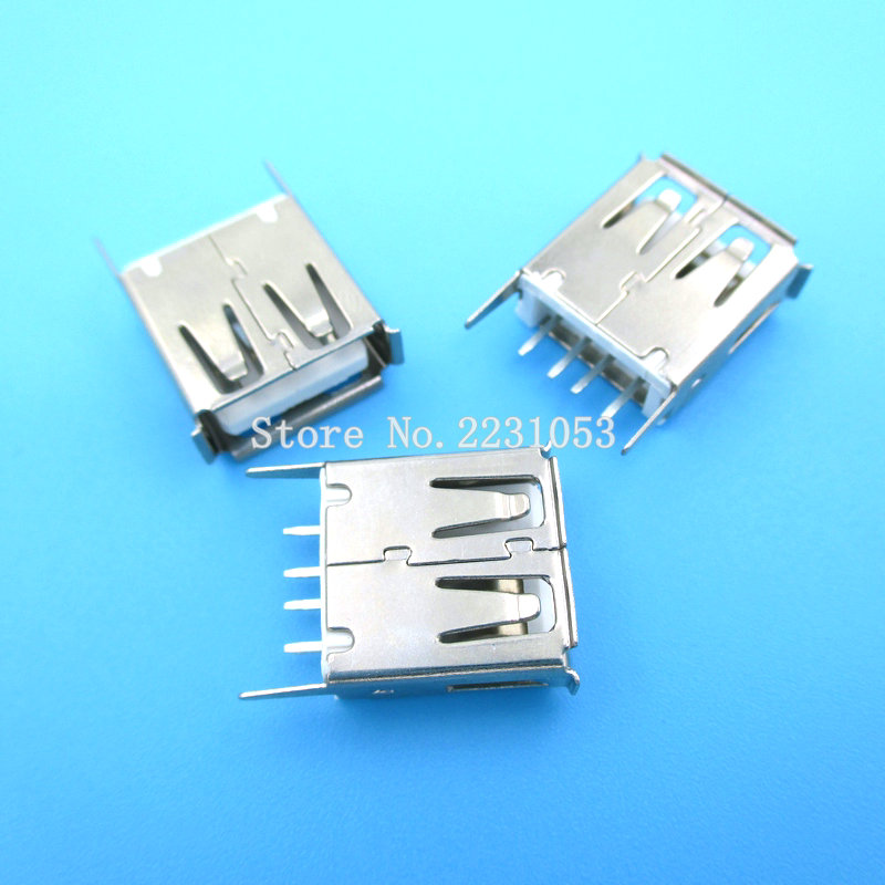 20PCS/LOT USB Socket Looper USB-A Type Connector Female 13.7MM 25mm metal usb connector usb socket 2x usb3 0 female a female a