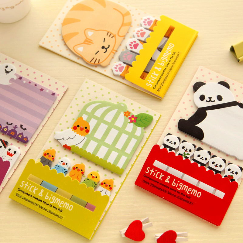 1X Cute Kawaii Cartoon Panda Bird Cat Self-Adhesive Memo Pads Sticky Notes Marker og Page Decor School Office Supply футболка print bar the panda page 2