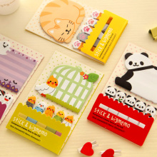 1X Cute Kawaii Cartoon Panda Bird Cat Selvklebende Notatblokker Sticky Notes Marker og Side Decor School Office Supply