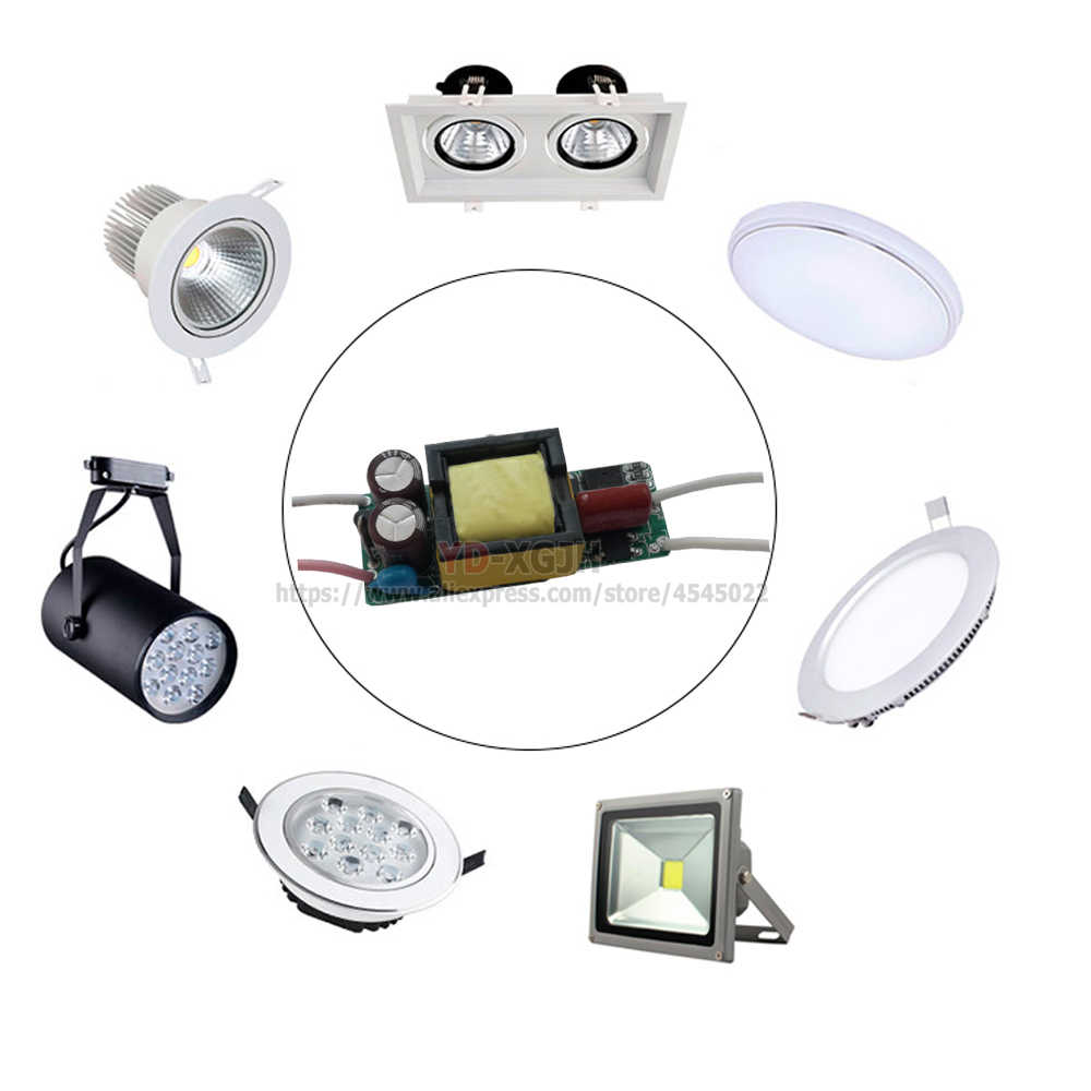 1W 3W 5W 10W 20W 30W 36W 50W 100W sin parpadeo conductor de iluminación transformadores fuente de alimentación para 1 3 5 10 20 30 100W vatios Lam