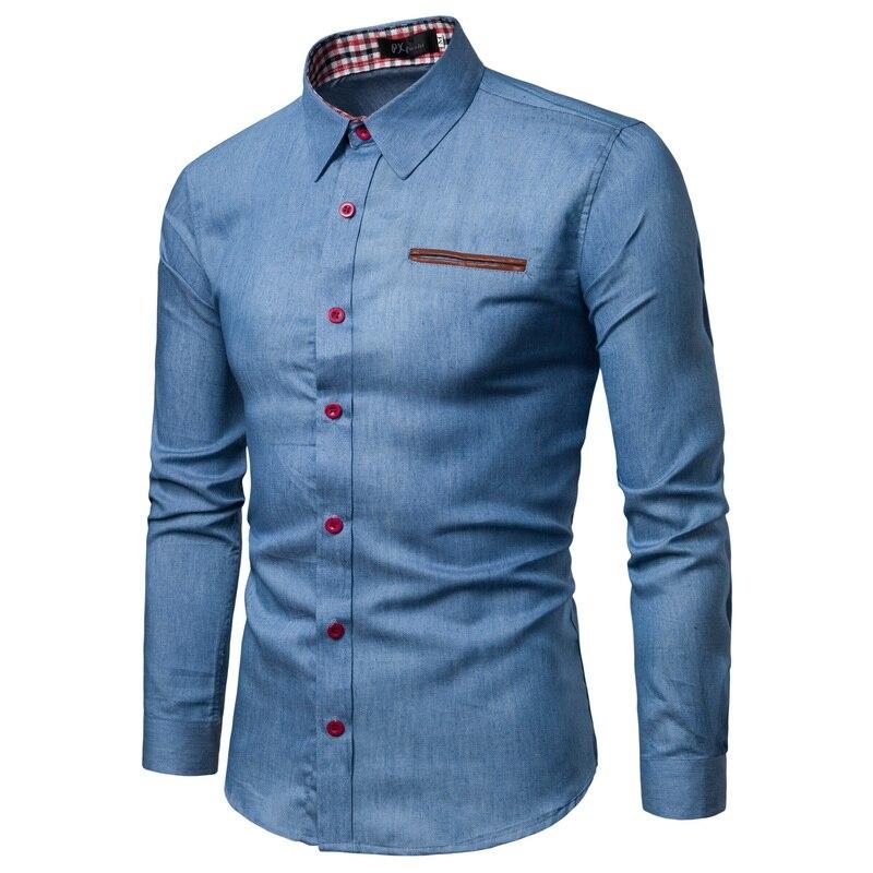 2018 Frühling Herbst Eigenschaften Shirts Männer Casual Jeans Hemd Neue Ankunft Langarm Casual Slim Fit Männlichen Shirts Fashion Shirt