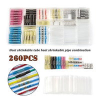 260 PCS/box Soldered Sleeve tube Splice Terminal+Heat Shrink Butt Terminals Wire Connector+Non insulated Bare Wire Connectors