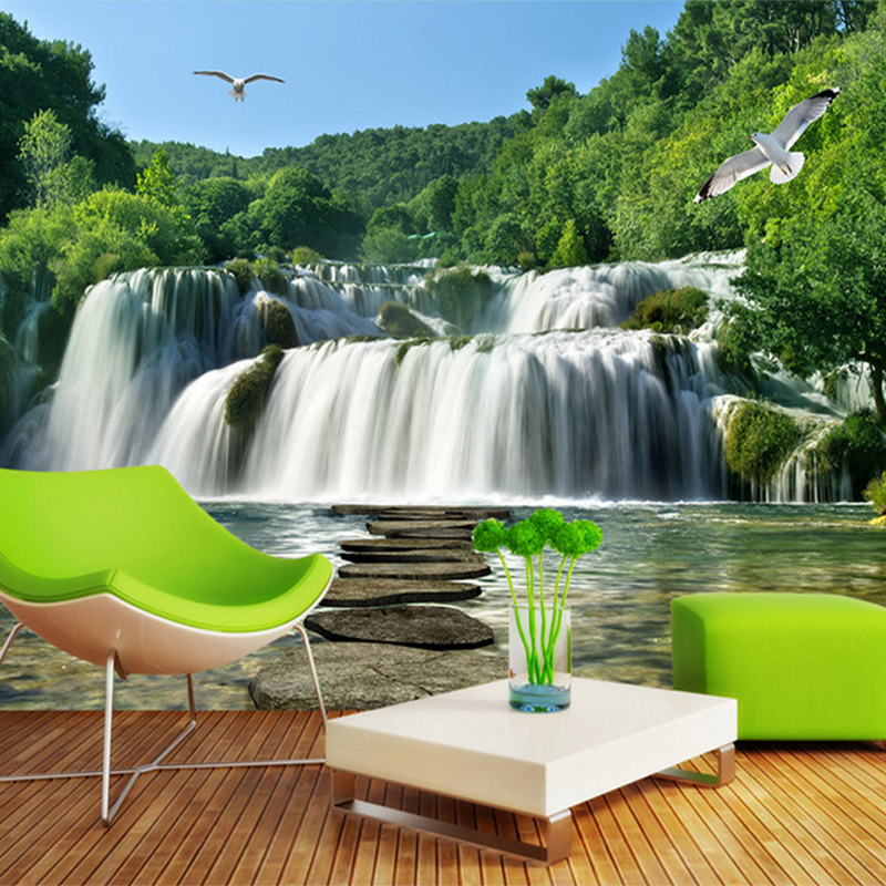 Custom Photo 3D Wall Mural Nature Landscape Waterfall Sofa TV Background Wall home decor 3d wallpaper for Living room wholesale 3d photo wallpaper 3d large mural tv sofa background wall bedroom living room photography wood nature landscape wallpaper mural