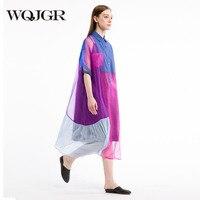 WQJGR 2018 натурального шелка платье женские оригинальный Дизайн рукавом привести Длинные повседневные свободные платья роковой