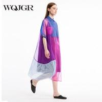 WQJGR 2018 Real Silk Dress women Original Design Sleeve Shirt Lead long casual loose Dresses robe femme