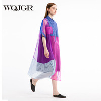 WQJGR 2018 Real Silk Dress women Original Design Sleeve Shirt Lead long casual loose Dresses robe femme