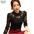 2016 Autumn Sexy Lace Tops blusas new Slim Plus size lace blouse long sleeve Casual shirt beaded openwork Women clothing 3XL
