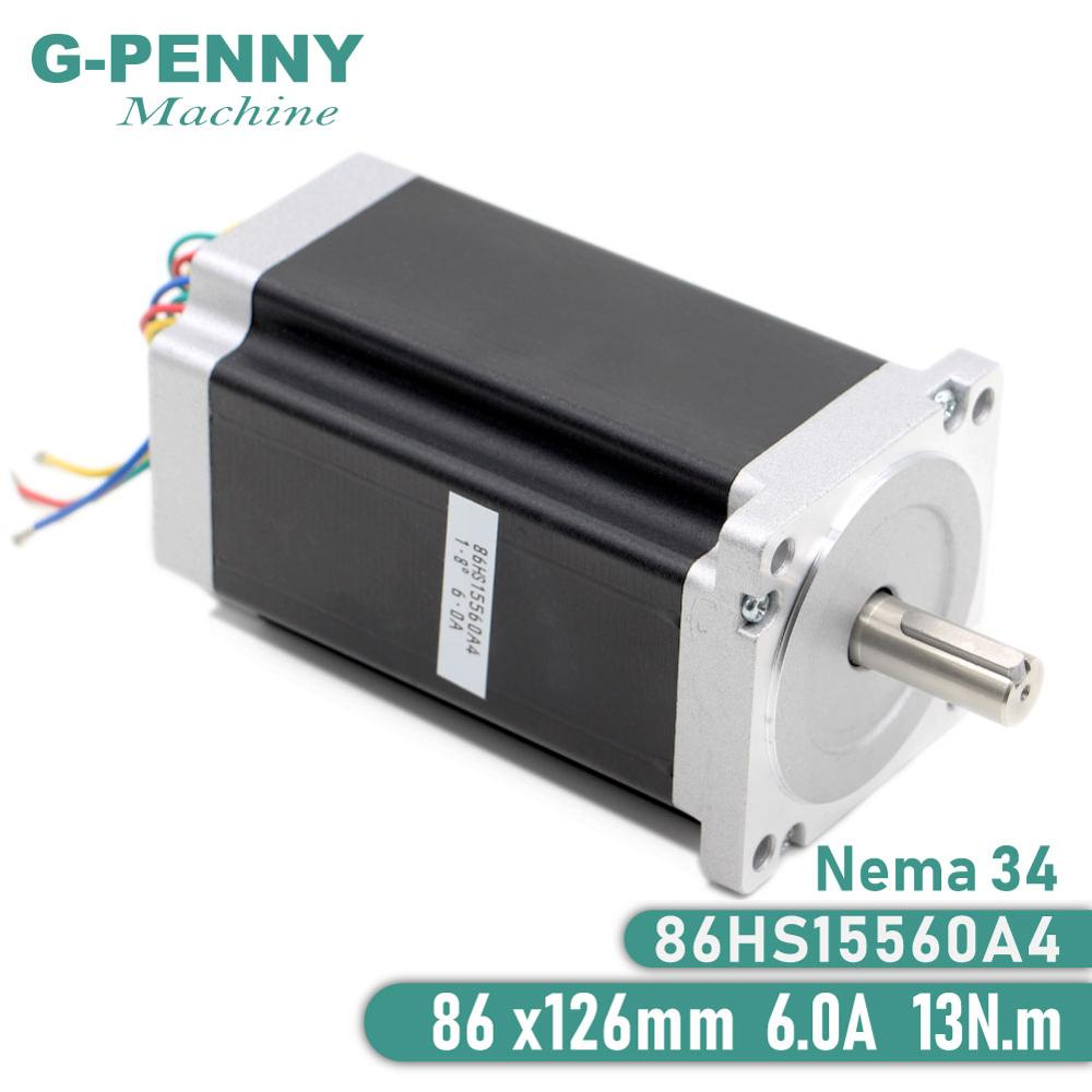 NEMA 34 CNC stepper motor 86X155mm 13 N.m 6A shaft 14mm nema 34 stepping motor 1700Oz in for CNC engraving machine 3D printer-in Stepper Motor from Home Improvement
