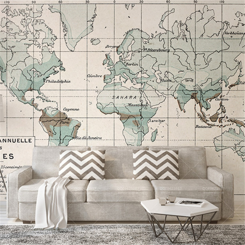 Custom Photo Wallpapers 3D Vintage Nature Landscape Murals World Map Walls Papers for Living Room Bedroom Background Home Decor custom photo size wallpapers 3d murals for living room tv home decor walls papers nature landscape painting non woven wallpapers