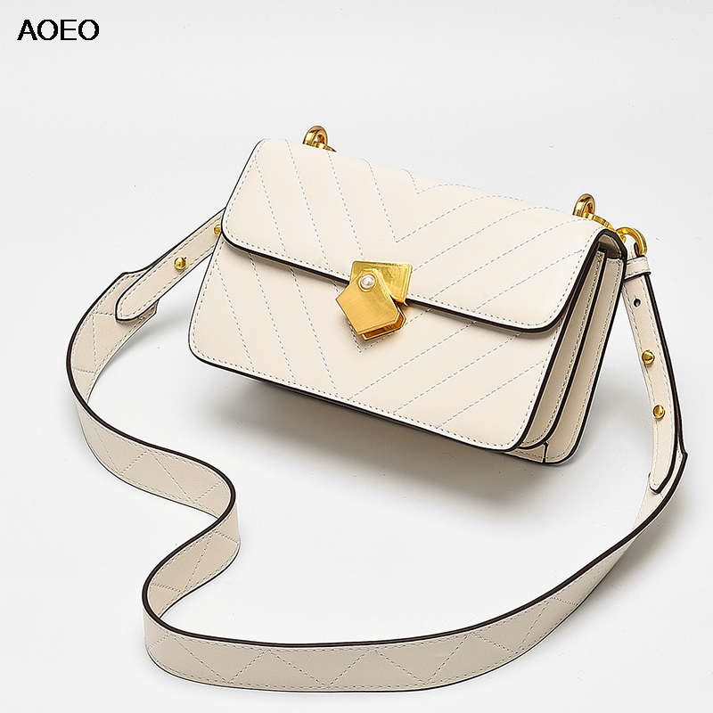 AOEO Brand Small Shoulder Bag For Women Messenger Bags Wide Strap Ladies Split Leather Handbag Purse
