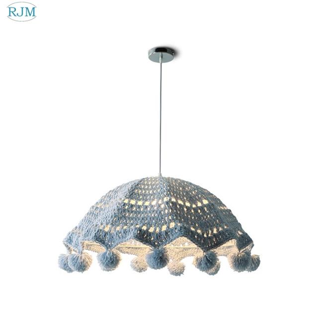 Hilo de algodón de ratán Pastoral LED luces colgantes de lana tejido lámparas colgantes para habitación de bebé dormitorio sala de estar restaurante iluminación