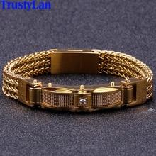 Bracelets pour hommes, 13MM, de meilleurs amis, à la mode, avec fermoir magnétique, bijoux en acier inoxydable en or, 2019