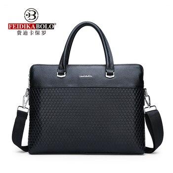 FEIDIKABAOLUO  First Layer Cowhide Men's Handbag New Fashion  Briefcase Casual Wild Shoulder Messenger Bag