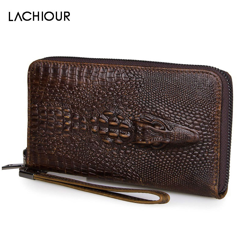 Lachiour Long Genuine Leather Wallet Men Vintage Hand Clutch Purse Male Large Wristlet Bag Cowhide Leather Zipper Phone Bags vintage genuine leather wallets men fashion cowhide wallet 2017 high quality coin purse long zipper clutch large capacity bag