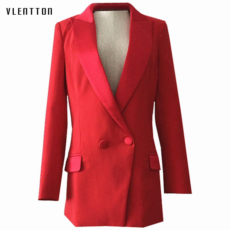 Long Blazer Woman Spring Autumn 2019 New Office Elegant Single Breasted Red Blazer Women's Jacket Long Sleeve Women Blazers