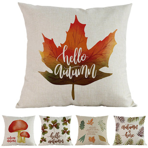 Hello Autumn Golden Yellow Fallen Leaves Mature Fruit Mushroom Pattern Pillow Case Home Sofa Decoration Cushion Cover