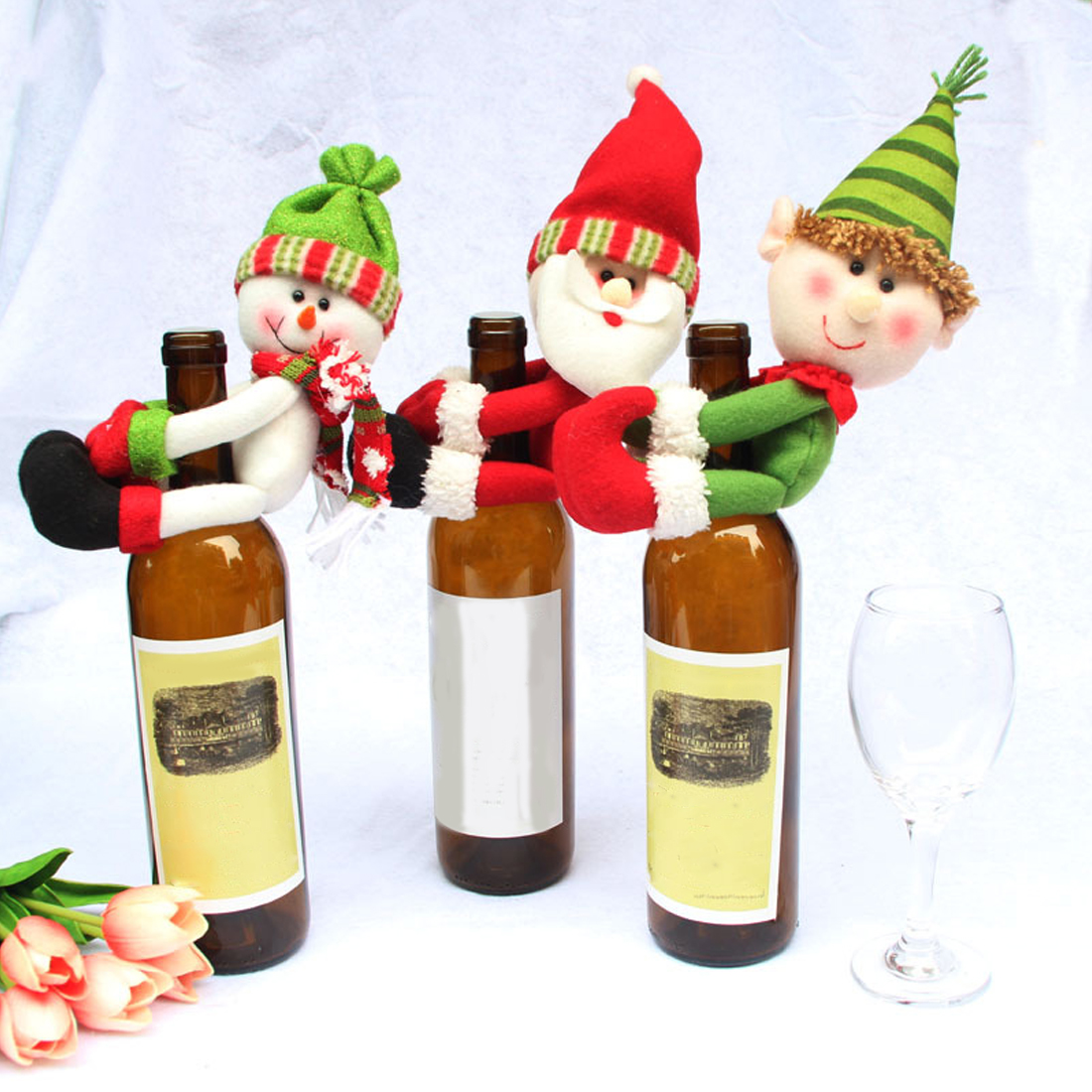 Nice Santa Claus Wine Bottle Cover Christmas Decorations For Home Snowman Bottle Pendant Sets Xmas Dinner Table Decor