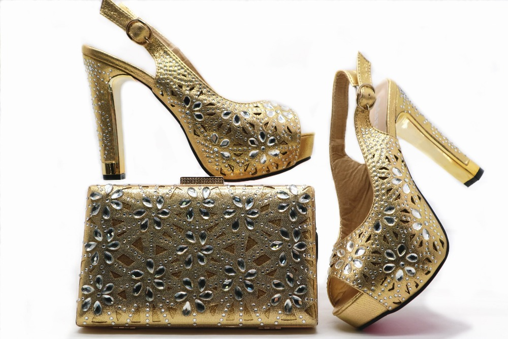 bc988d68962 Italy fashion shoes bag matching set gold color for african women aso ebi  party sandals and clutches ...