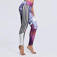 New! 5 Phong Cách In Xà Cạp Nữ Bên Sọc In Cộng Với Kích Thước Legging Quần Sporting Đàn Hồi Không Minh Bạch Phòng Tập Thể Dục Leggins