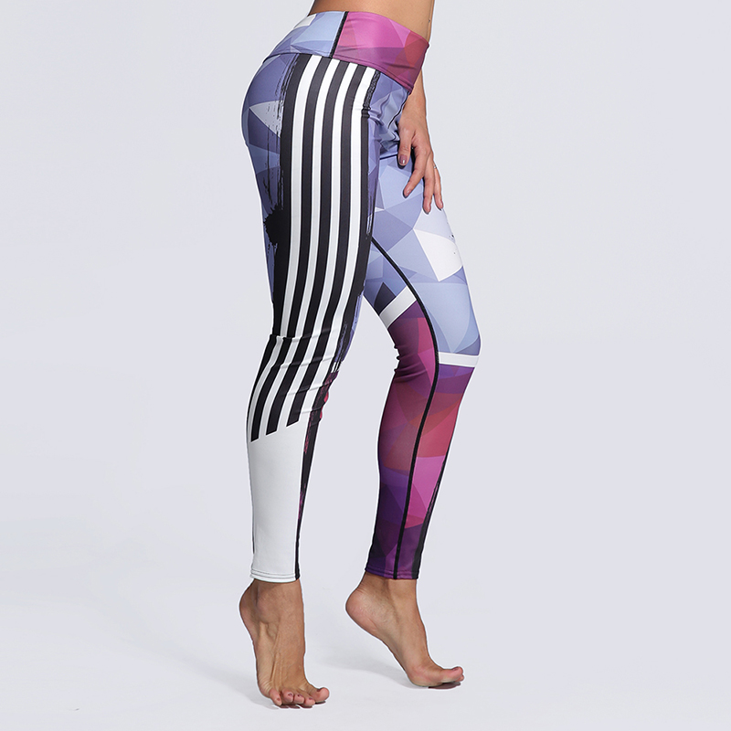 New! 5 Styles Printed Leggings Women Side Stripe Print Plus Size Legging Sporting Pants Elastic Not Transparent Gyms Leggins