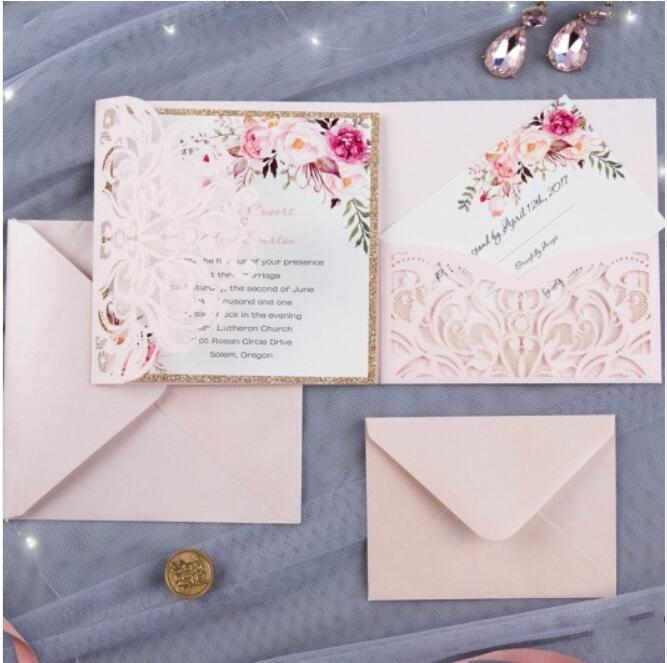 Customized Laser Cut Pink Wedding Party Pocket Invitation card With RSVP Elegant Marriage Invitations 100PCS Express