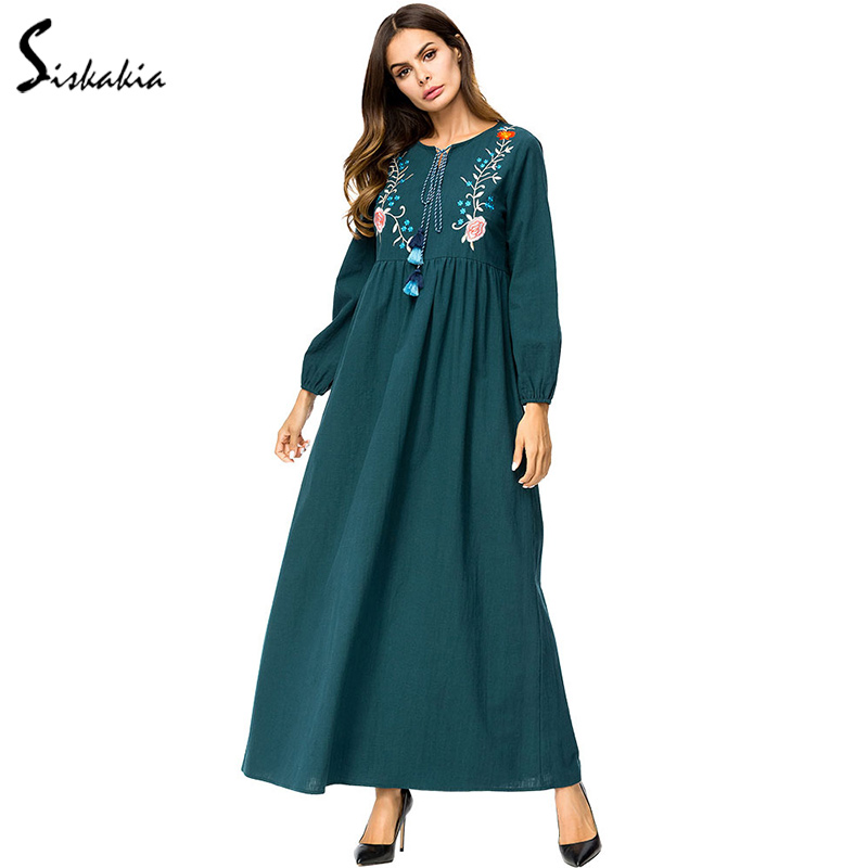 US $23.39 40% OFF|Siskakia Elegant ladies Floral Embroidery long Dress Tall  women plus size Maxi Dresses Autumn Fall 2018 long sleeve dress Green-in ...