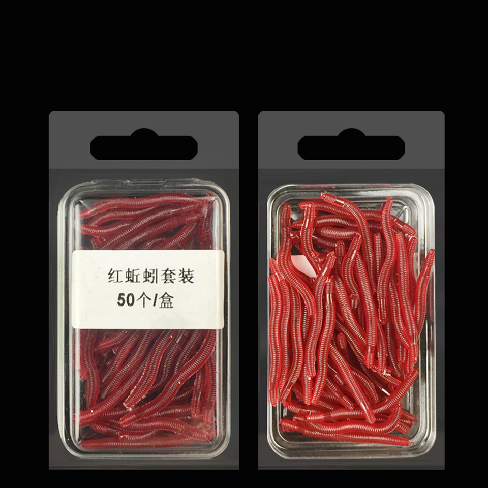 50PCS/Lot 3.5cm Soft Lure High Emulational Red PE Soft Fishing Wormbaits Earthworm Artificial Fishing Bait Peche Leurre