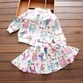 Las muchachas Que Arropan Otoño Moda Casual Cartoon Graffiti Imprimir Cremallera prendas de Vestir Exteriores + Falda Chicas Set Ropa de Los Niños Niñas Traje